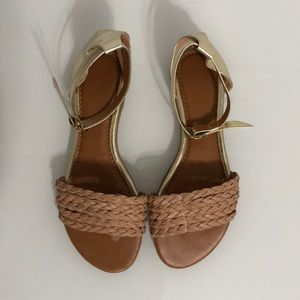 Women's Braided and Metallic Gold Sandals